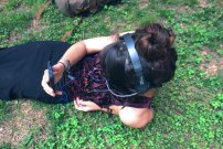 Adrienne listening to the music of her brain with the Conductar